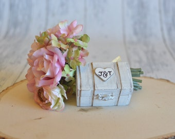 Rustic Wedding Ring Box Keepsake or Ring Bearer Box- Personalized/We Promise- Comes With Burlap Pillow. Ships Quickly.