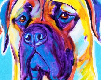 Mastiff, Pet Portrait, DawgArt, Dog Art, Mastiff Art, Pet Portrait Artist, Colorful Pet Portrait, Art, Art Prints, Pet Portrait Painting