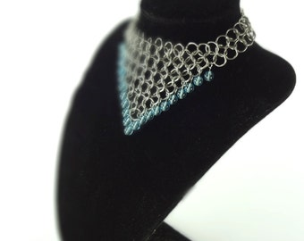 Medieval Necklace Chainmaille With Sky Blue Glass Beads