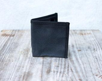 black minimalist waxed canvas wallet