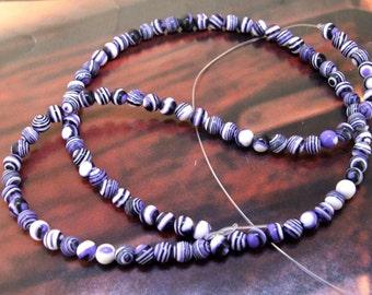 Charm 4mm Round Purple Zebra Stripe malachite gemstone bead Loose Full One strand