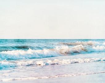 "Pale Ocean Photography, white blue aqua sea landscape seascape print large wave wall art coastal photograph nautical picture, ""Calming Sea"""