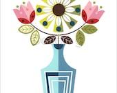 art print, blue vase, spring flowers