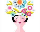Little lady, dreaming of summer, print Ellen Giggenbach