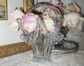 Vintage Glass Flower Basket  Vase Looks Like a Splash Of Water Gorgeous Beach Home Decor Serving Kitchen Supplies Vintage Glass Beach Decor