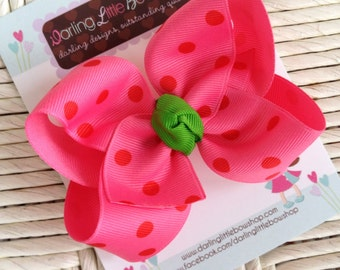 Hot pink and red bow with apple green center -- Strawberry Bow -- matches strawberry themes