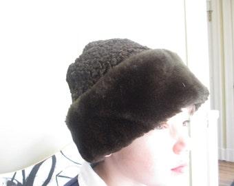 Vintage Chocolate Brown Faux Fur Hat