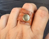 Leather Ring, Snap, wraped around ring