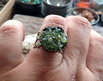 Ring,Unique Stone Mosaic Jewelry,Adjustable, OOAK