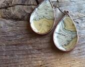 Vintage Eco-Friendly Nautical Chart Map Dangle Earrings