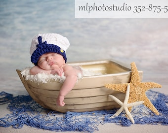 Sea Captain Marine Baby Boy Crochet Hat and Photography Prop All Sizes from Newborn to Adult