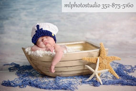 Sea Captain Marine Baby Boy Crochet Hat And Photography Prop