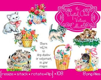 Digital Clipart, instant download, vintage kitten images, basket of kittens, window box, roses, tabby kitten cat kitty ribbons png files 108