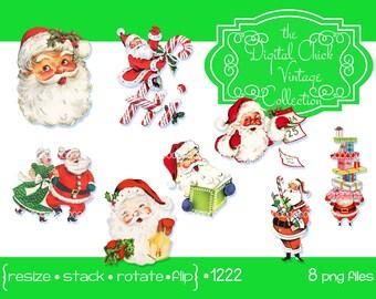 Digital Clipart, instant download, Vintage Santa Claus Mrs Santa Claus, gifts presents, candy canes calendar dance--Printable PNG Files 1222