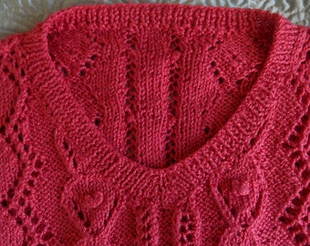 Deep coral pink lacy handknit sweater top L