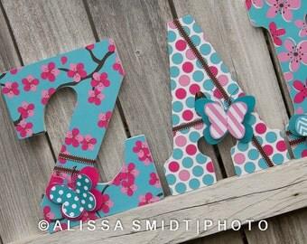 12 Inch Size Large Nursery Letters - Custom Nursery Wooden Letters - Butterfly Theme