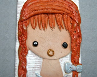 small pottery wall hanging plaque pippi longstocking red haired girl denmark ?