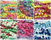 1 Pack (18 yards) Multicolored Large Pom Pom Trim, Pom Pom Trim, Colorful trim, Rainbow Trim, Pom Pom Yarn, Trim lot, Pom Pom Fringe