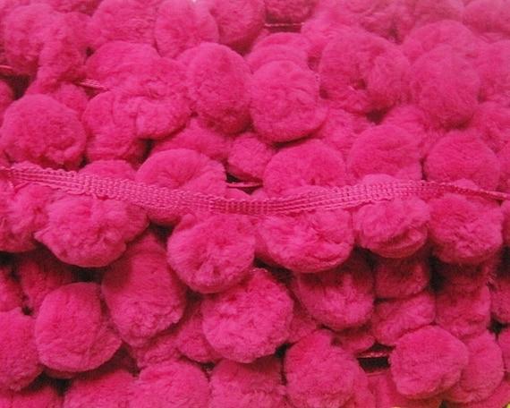 ... Pom Pom Trim, Pink pom pom, Shocking Pink pom pom fringe, Pom Pom