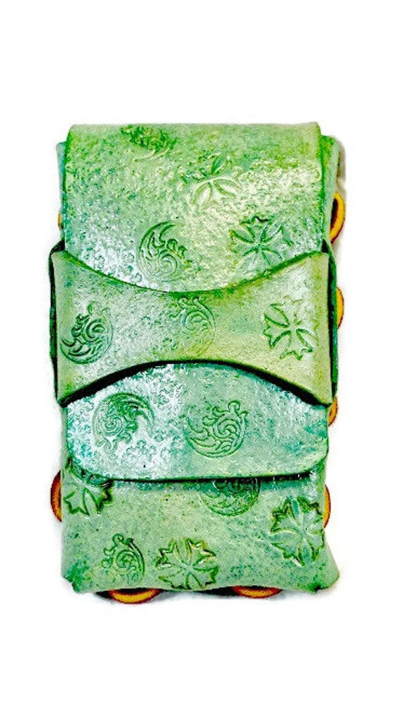 Green Handmade Leather Cigarette Case that can be used for your Cell Phone, Cigarettes, or Camera. Great boyfriend gift or anniversary gift.