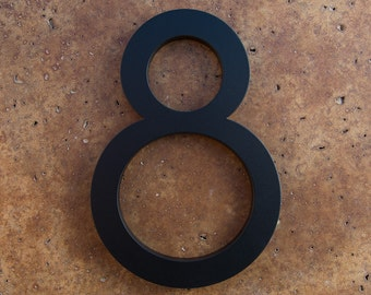 Modern House Number Aluminum Modern Font Number EIGHT 8 in Black