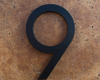 Modern House Number Aluminum Modern Font Number NINE 9 in Black