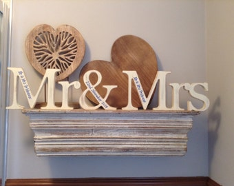 Freestanding Wedding Letters - Mr & Mrs - New Georgian Font - Personalised - 12cm Hand Painted