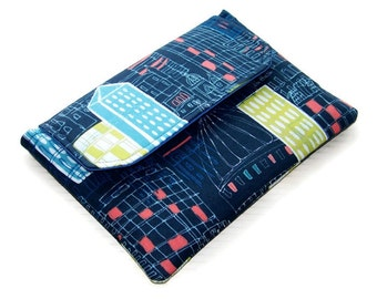 Ipad Mini Clutch Purse, Handmade Gadget Case, Padded Tablet Cover, City Scene, Made in Britain, UK Seller
