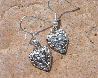Silver Heart Cross Earrings