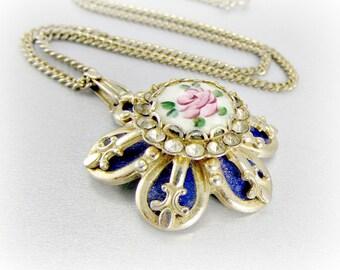Vintage Guilloche Enamel Rose Necklace, Royal Blue Flower, Gold Fleur De Lis, Pendant Necklace, 1950s Antique Medieval Jewelry