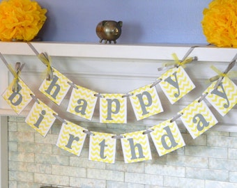 Happy Birthday Banner -  Yellow and Gray HAPPY BIRTHDAY Decorations - Boy/Girl Birthday - Kids Birthday - Photo Prop You Pick the Colors