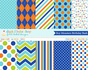 monsters digital papers printable - Boy Monsters Birthday Bash Papers