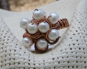 Pearl Cluster Woven Ring