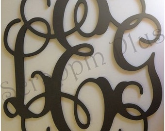 Painted Wooden Monogram Letters - wedding guestbook