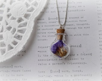 Round Glass Bottle with Purple Flowers Necklace