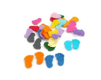 Felt shapes baby shower feet baby confetti die cut felt shapes pre cut