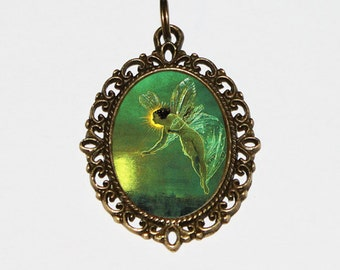 Green Fairy Necklace, Fairy Jewelry, Oval Pendant