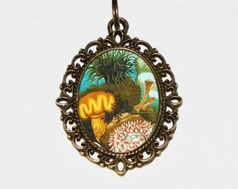 Sea Anemone Necklace, Ocean Jewelry, Marine, Scuba Diver, Oval Pendant