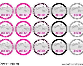 """15 Miss October Digital Download for 1"""" Bottle Caps (4x6)"""
