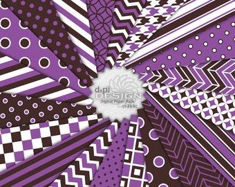 """Purple & Brown - Digital Scrapbook Paper and Backgrounds - 12""""x12"""" Brown and Purple Digital Paper Pack - Instant Digital Download (DP369C)"""