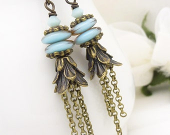 Brown and turquoise earrings, rustic boho earrings, vintage style antique bronze dangle leaft and chain earrings, turquoise blue, dark brown