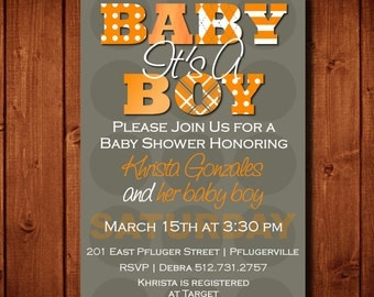 Modern It's A Boy Baby Shower Invitation Orange and Gray Digital File or Add Prints Front & Back