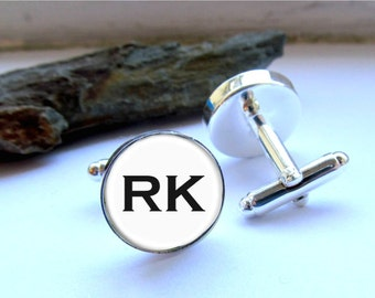 Mens Cufflinks, Initial Cufflinks, Custom Personalized Cufflinks