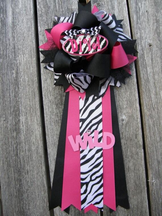 zebra baby shower-corsage-hot pink