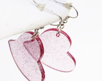 Big Pink Glitter Plastic Heart Earrings