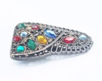 Vintage Multi Stone Brass fFiligree Dress Clip