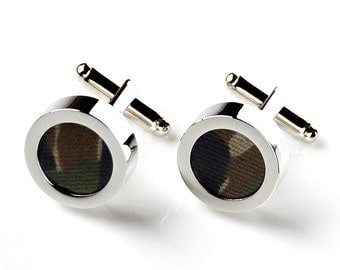Special Camouflage Cufflinks - Wedding Gift - Handmade - Gift Box Included