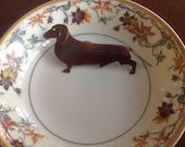 SALE.  Copper metal patina dachshund figure pin