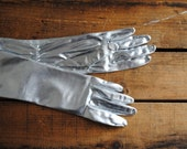 Vintage Gloves Silver Lame by Kayser - Long Costume Gloves