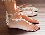 Footless Sandals- Beach Wedding Sandals- Barefoot Sandals- Foot Jewelry- Beige Barefoot Wedding- Bridesmaids Gift- Cheap Valentines Gifts